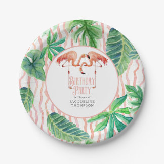 Birthday Party Decor Leaf Pink Flamingo Watercolor 7 Inch Paper Plate