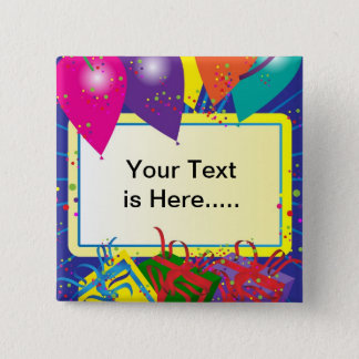 Birthday Party Design 15 Cm Square Badge
