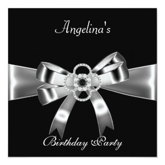 "Birthday Party Elegant Black Silver Metal Bow 3 5.25"" Square Invitation Card"