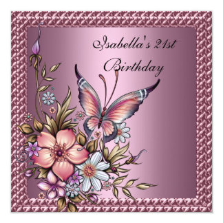 Birthday Party Elegant Floral Butterfly Pink Card