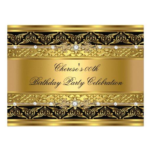 Birthday Party Elegant Gold Diamond Black Trim 3 Custom Invitations