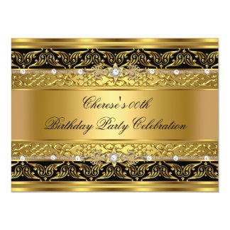 "Birthday Party Elegant Gold Diamond Black Trim 3 6.5"" X 8.75"" Invitation Card"