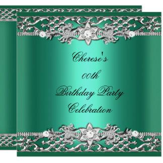 Birthday Party Elegant Jade Green Silver Diamond Card