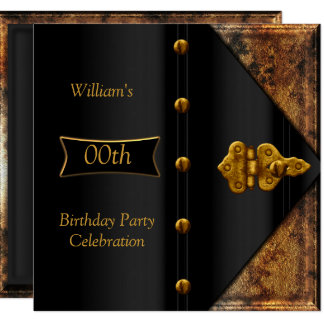 Birthday Party Elegant Mens Rusty Gold Black Card