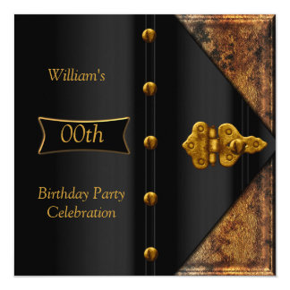 Birthday Party Elegant Mens Rusty Gold Black Card