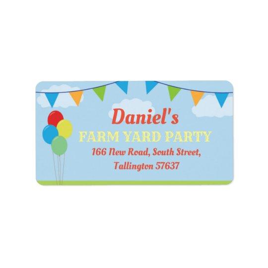Birthday Party Farm Yard Address Labels Flags