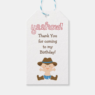 Birthday Party Favor or Gift Tag- Cowboy Gift Tags