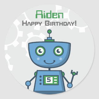 Birthday Party Favor Sticker | Robot Theme