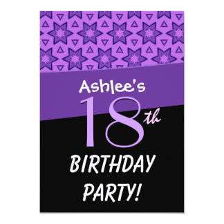 Birthday Party Festive Purple Stars Pattern G201 Personalized Invitations
