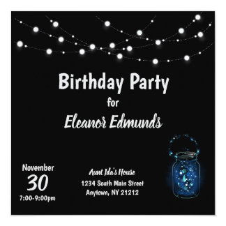 Birthday Party Firefly Night Card