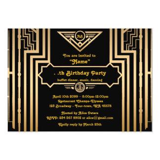 Birthday Party, Gatsby style, Art-Deco, gold&black Card