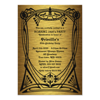 Birthday Party, Gatsby style, gold black,monogram Card