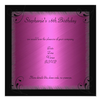 Birthday Party Glamour Hot Pink Black Sweet 16 13 Cm X 13 Cm Square Invitation Card