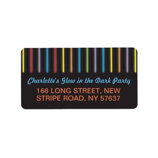 Birthday Party Glow in the Dark Labels Address