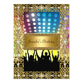 Birthday Party Gold Black Disco Any age Card