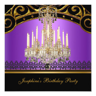 Birthday Party Gold Purple Black Chandelier 13 Cm X 13 Cm Square Invitation Card