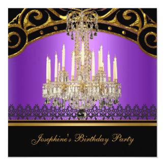 Birthday Party Gold Purple Black Chandelier Card