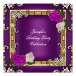 Birthday Party Gold Purple Plum Cream Rose Personalized Announcements