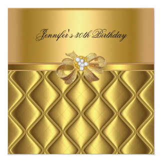 Birthday Party Gold Tile Trim Black Diamond 13 Cm X 13 Cm Square Invitation Card
