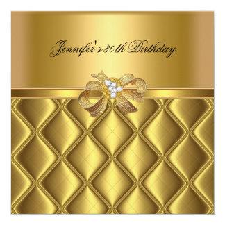 Birthday Party Gold Tile Trim Black Diamond 5.25x5.25 Square Paper Invitation Card