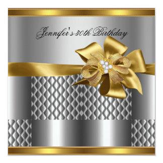 Birthday Party Gold Tile Trim Silver Grey Diamond 13 Cm X 13 Cm Square Invitation Card