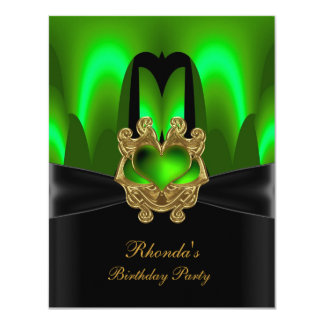 Birthday Party Green Lime Abstract Black Gold 11 Cm X 14 Cm Invitation Card