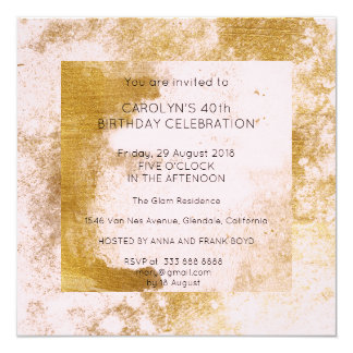 Birthday Party Grungy Pink Powder Gold Blush Card