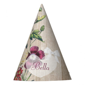 Birthday Party Hat Rustic Wood Purple Floral