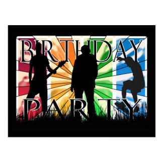 Birthday Party inviation with skater, guiter playe Postcard