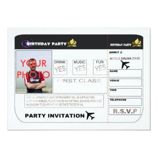 Birthday Party Invitation Aeroplane Ticket Spoof P