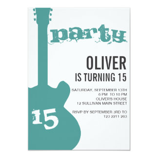 Birthday Party Invitation - Blue Guitar Silhouette