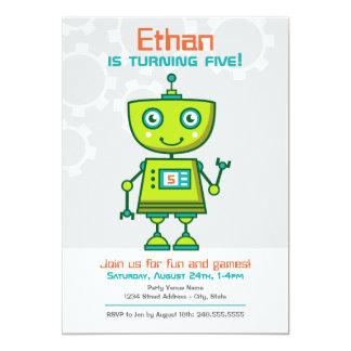 Birthday Party Invitation   Boy's Robot Theme