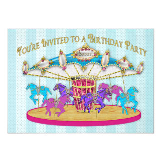 Birthday Party INVITATION - Carousel - Children