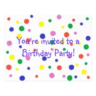 Birthday Party invitation, colorful dots, postcard