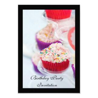 Birthday party Invitation (cupcake on front cover)