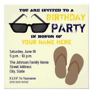 Birthday Party Invitation Flip Flops & Sunglasses