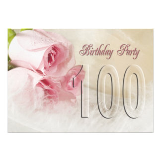 Birthday party invitation for 100 years
