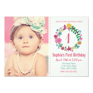 Birthday Party Invitation Girl Flower Circle Photo