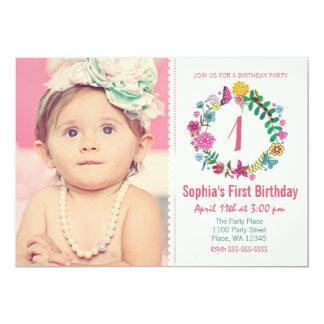 Birthday Party Invitation Girl Flower Circle Photo