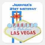 Birthday Party Invitation Las Vegas SIgn Square Stickers