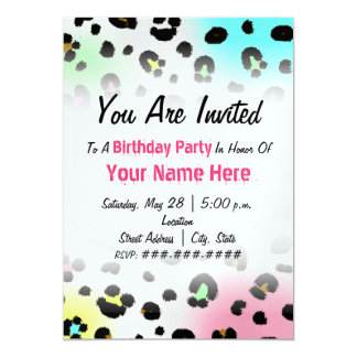Birthday Party Invitation - Neon Airbrush Leopard