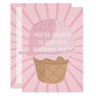 Birthday Party Invitation Pink Ice Cream Sprinkles