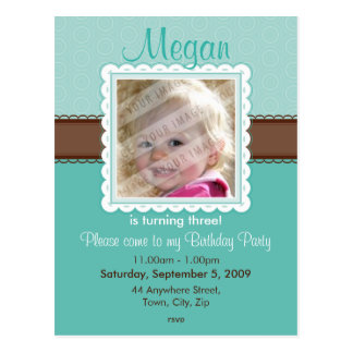 BIRTHDAY PARTY INVITATION :: prettily 7 Postcard
