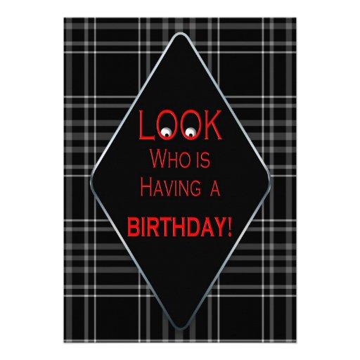 BIRTHDAY PARTY INVITATION - UNISEX/AGE BLACK PLAID ANNOUNCEMENTS