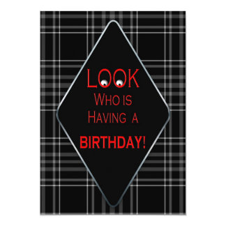 BIRTHDAY PARTY INVITATION - UNISEX/AGE BLACK PLAID ANNOUNCEMENTS
