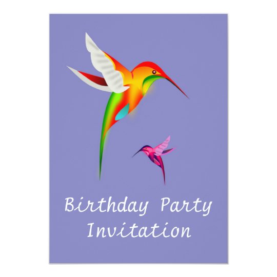 Birthday party invitation with hummingbirds