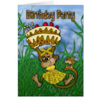 Birthday Party Invitation with monkey and birthday