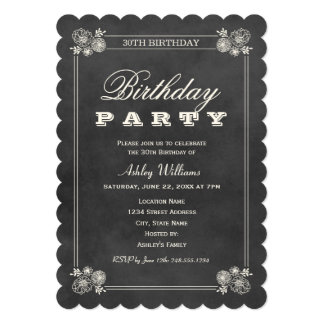 Birthday Party Invitations | Black Chalkboard Personalized Announcement