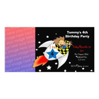 Birthday party invitations (rocket boy) photo cards