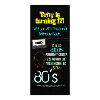 Birthday Party Invite 80 s Theme II him-black